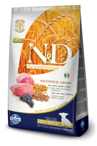 N&D Low Ancestral Grain PUPPY MINI Agnello e Mirtillo 2,5 Kg