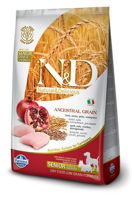 N&D Low Ancestral Grain Senior Mini/ Medium Pollo e Melograno 2,5kg
