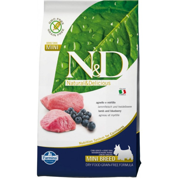 N&D Grain Free Adult Mini Agnello e Mirtillo 2,5 kg