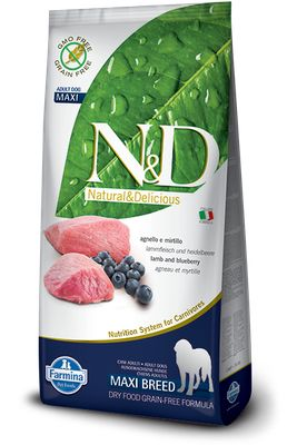 N&D DOG GRAIN FREE Adult Maxi Agnello e Mirtillo 12kg