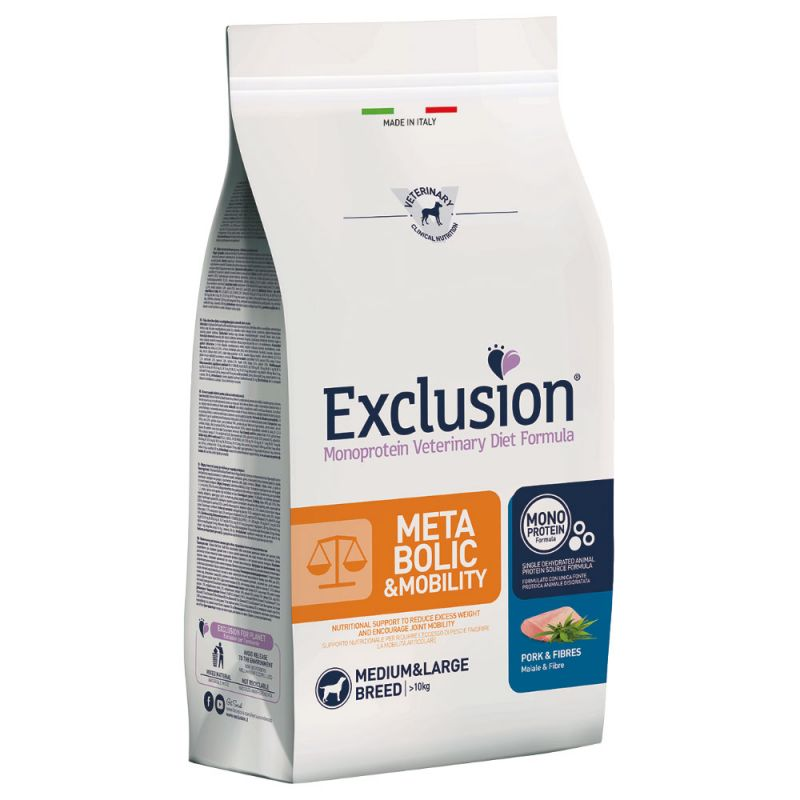 Exclusion diet  metabolic & mobility maiale e fibre medium large 12,5 kg