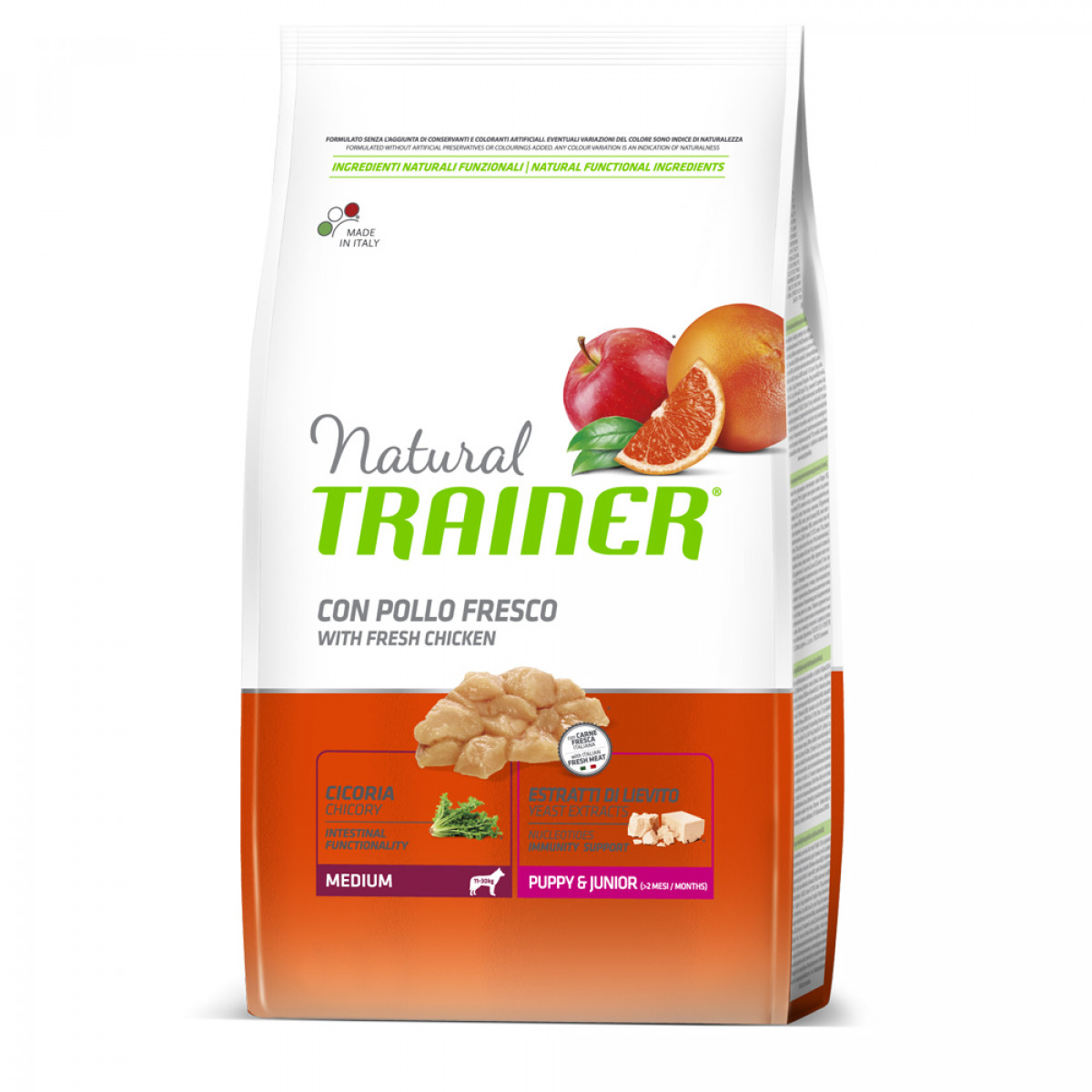 Trainer Natural Dog Medium Puppy & Junior Pollo Fresco	3kg