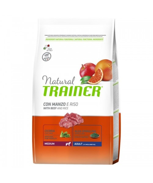 Trainer Natural Dog Medium Adult Manzo e Riso	12kg
