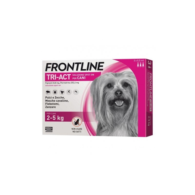 Frotline Tri-Act Spot-On per Cani 2-5kg 3 pipette