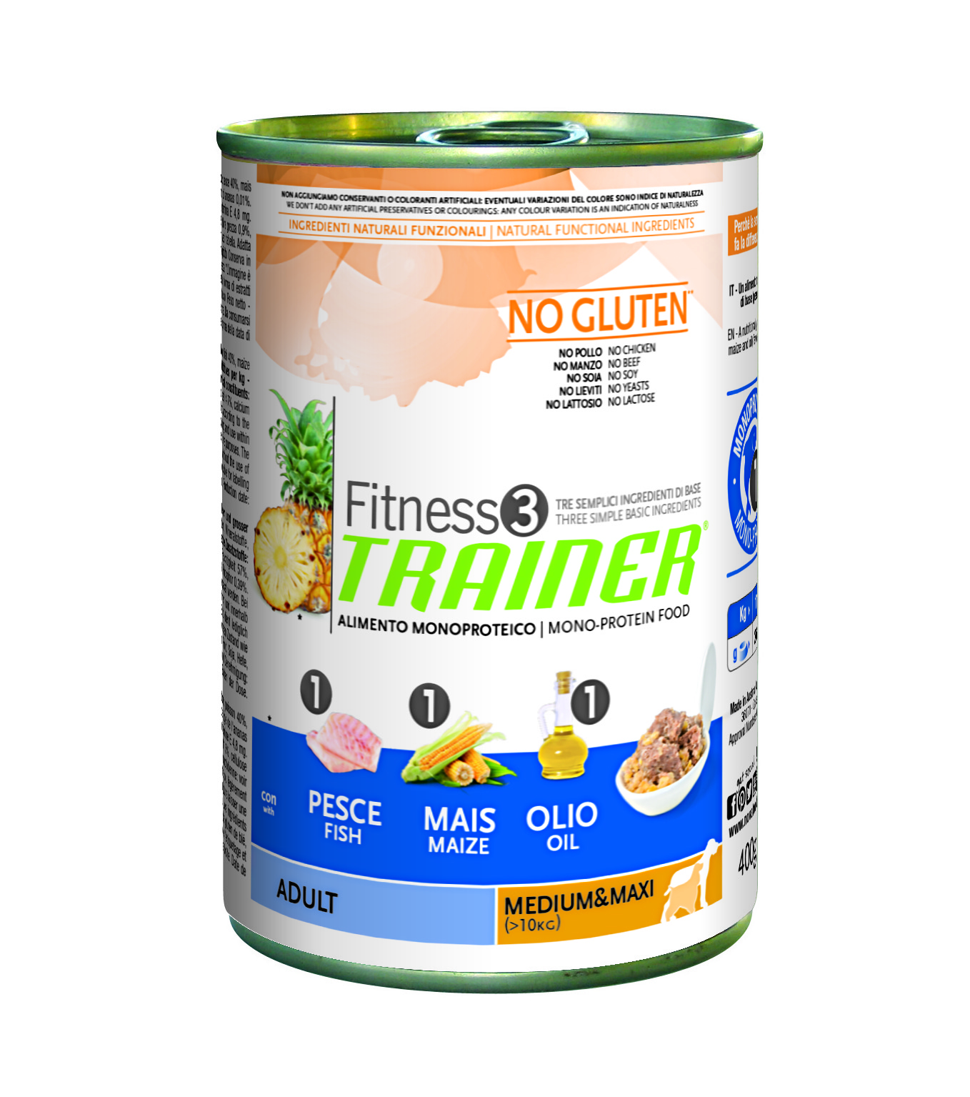 Trainer Fitness3 Dog Adult M/M Fish & Maize Lattina  400gr