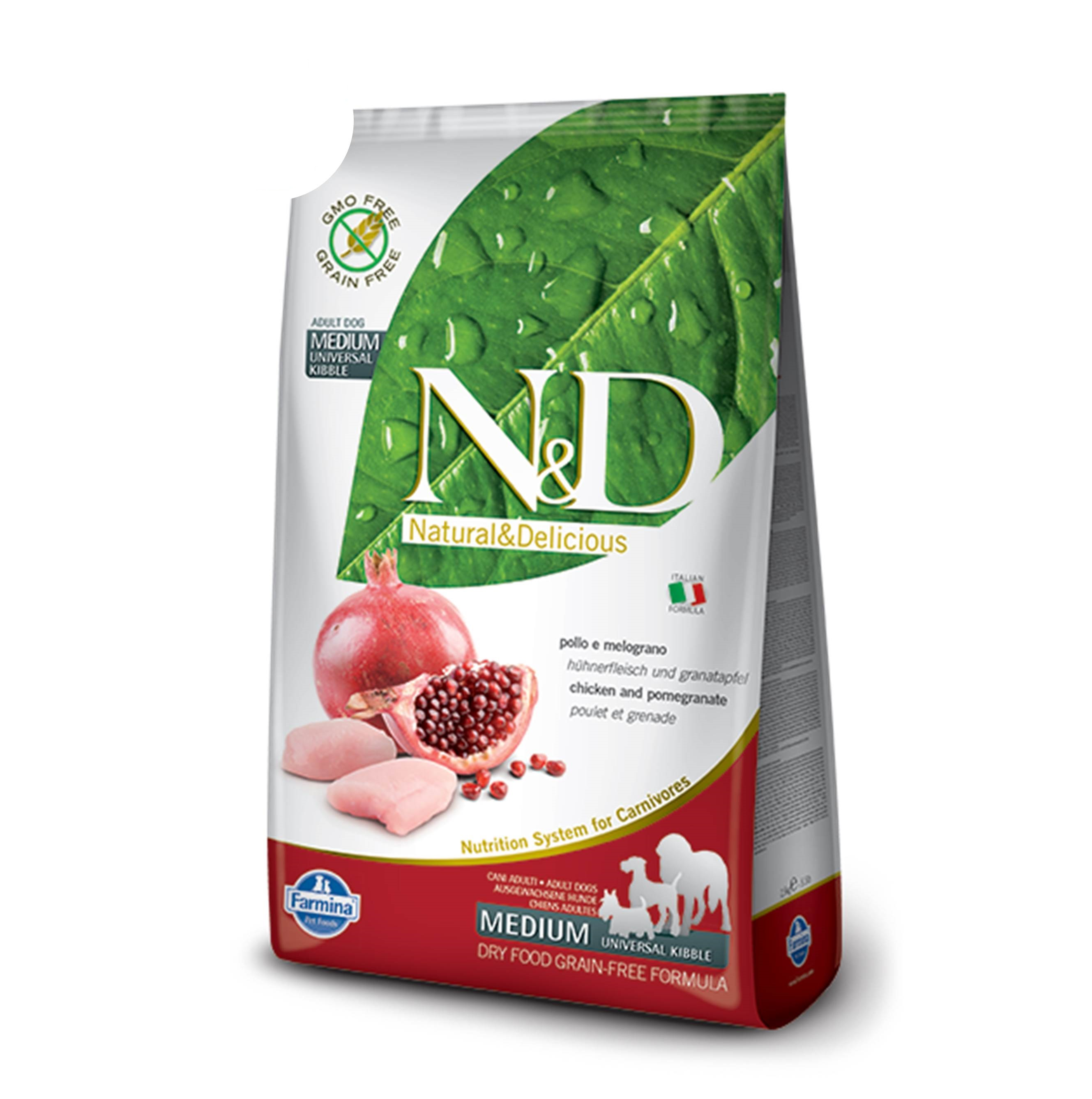 N&D DOG GRAIN FREE Adult Medium&Maxi Pollo e Melograno 12Kg