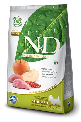 N&D DOG GRAIN FREE Adult Mini Cinghiale e Mela 2,5 kg