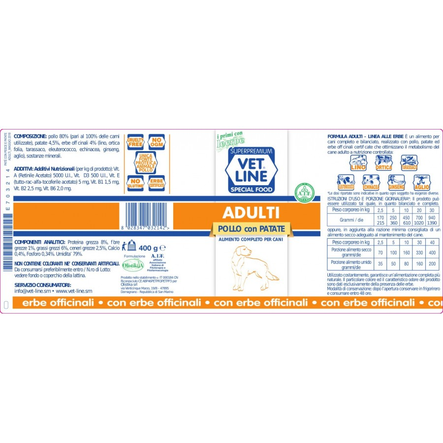 VET LINE ADULTI  POLLO E PATATE 405 g