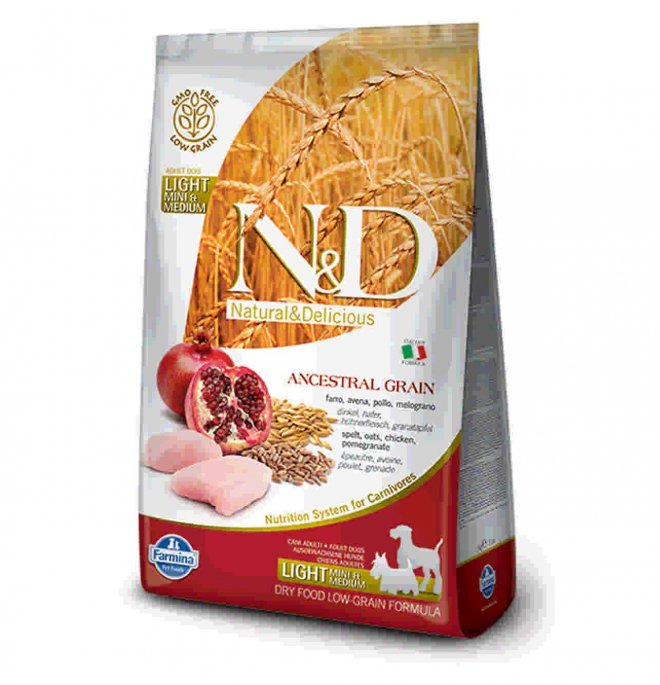 N&D Low Ancestral Grain Adult Light Mini & Medium Pollo e Melograno 2,5kg
