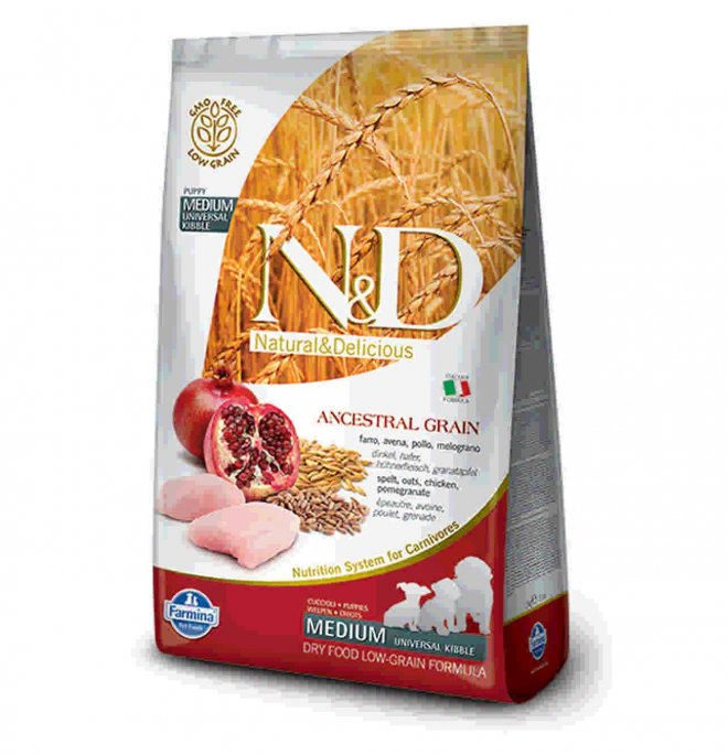 N&D Low Ancestral Grain Puppy Medium Pollo e Melograno 12kg