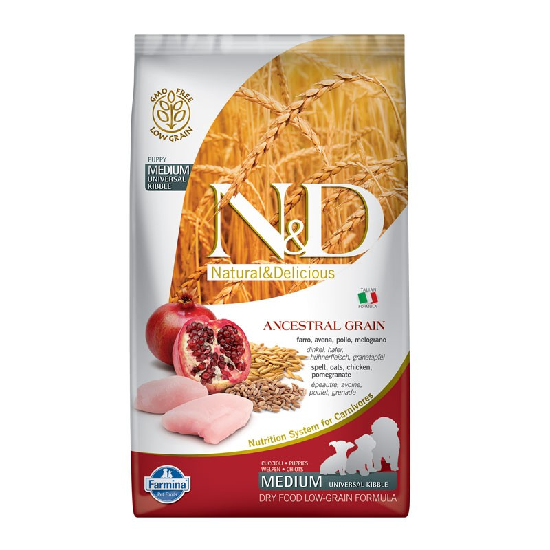 N&D Low Ancestral Grain Puppy Medium Pollo e Melograno 2,5Kg