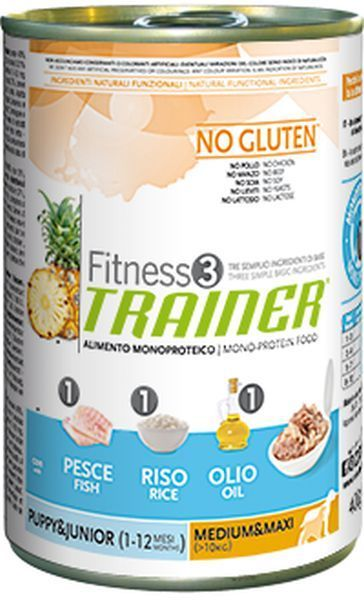 Trainer Fitness3 Dog Puppy & Junior M/M Fish & Rice Lattina	400gr